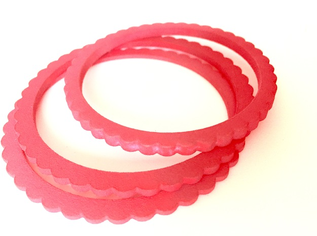 Ingranaggi Bangle - 3mm Thick in Red Strong & Flexible Polished