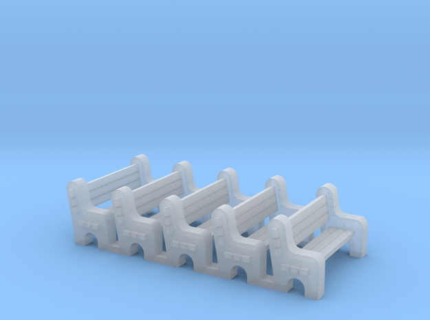 Street Bench - Qty (5) N 160:1 Scale in Smooth Fine Detail Plastic