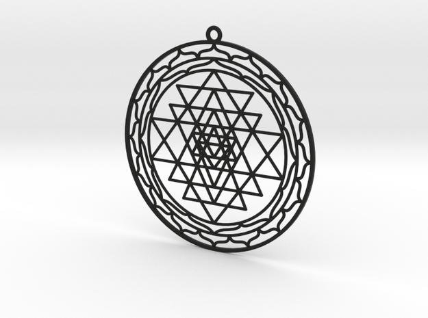 Complete Sri Yantra Pendant in Black Natural Versatile Plastic