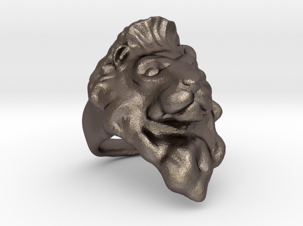Lion Ring 22.27mm (size 13) in Polished Bronzed Silver Steel