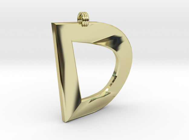 Distorted Letter D in 18k Gold Plated Brass