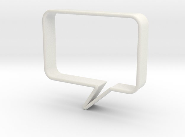Speech Bubble Cookie Cutter1 in White Natural Versatile Plastic