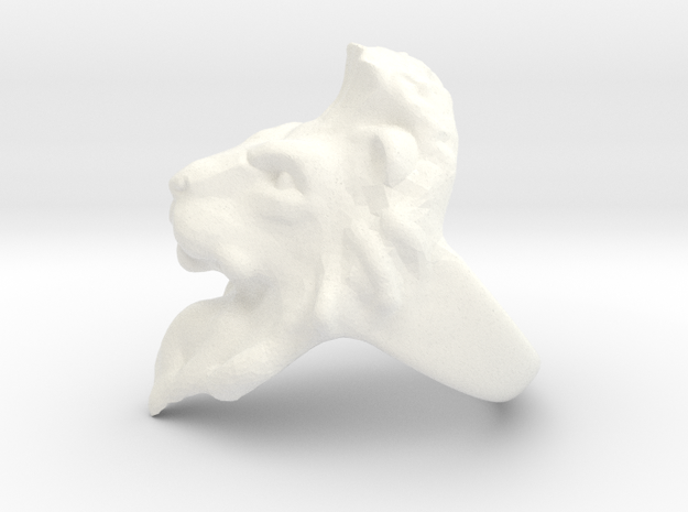 Lion Ring 18.98mm (size 9) in White Processed Versatile Plastic