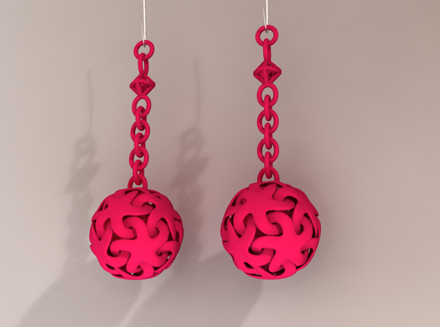 Starfish Ball Earrings in Pink Processed Versatile Plastic