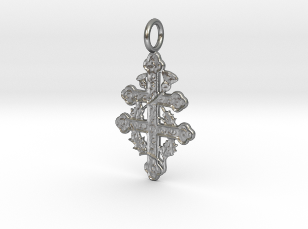 Cross of Lorraine Pendant in Natural Silver