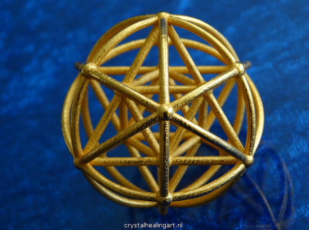 Merkaba  Sphere in Polished Gold Steel