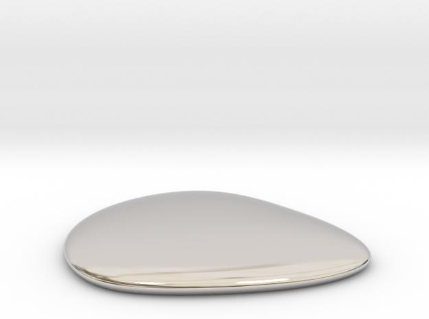 Liquid Drop small 3.5x4 cm in Rhodium Plated Brass