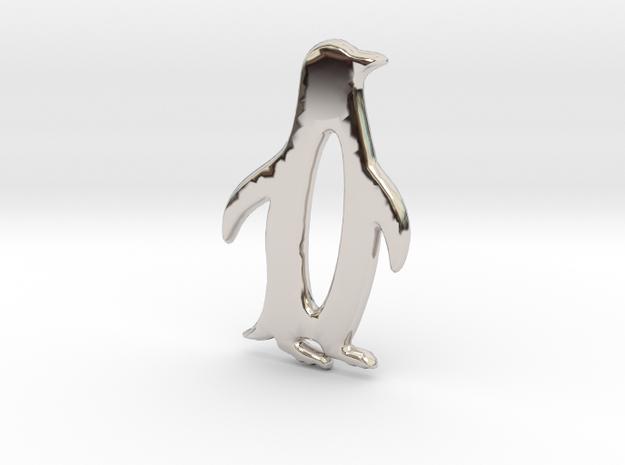 Minimalist Penguin Pendant in Rhodium Plated Brass: Small