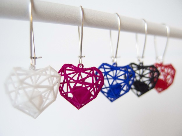 Wireframe Heart Earring in Red Processed Versatile Plastic