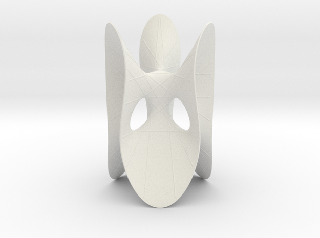 Cubic KM 1 cylinder cut with lines in White Natural Versatile Plastic