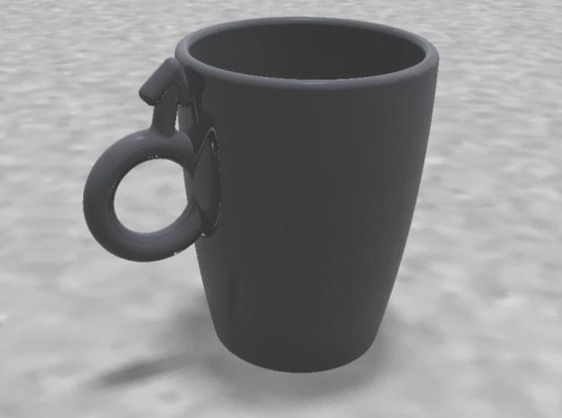 "Large Coffee Cup ""His"" 3d printed"