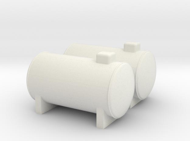 N Scale 2x Propane Tank in White Natural Versatile Plastic