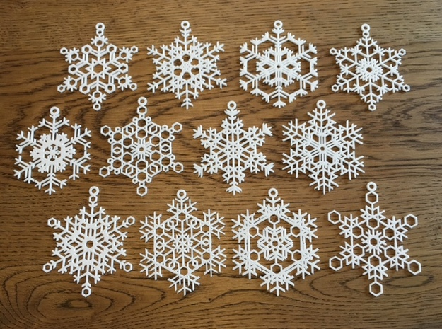 Snowflake Ornaments - One Dozen Large in White Natural Versatile Plastic