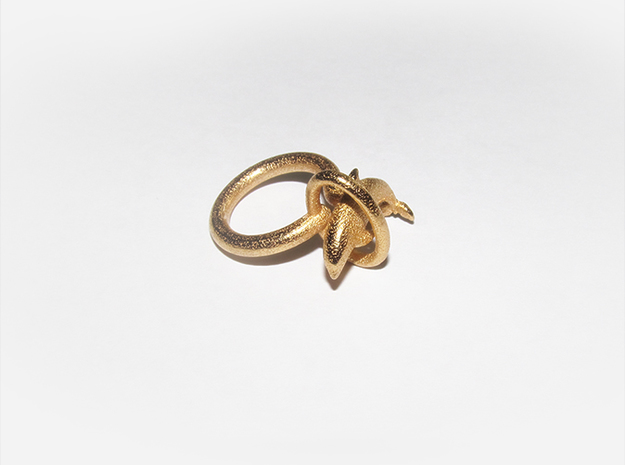 Dolplin Ring (US Size7) in Polished Gold Steel
