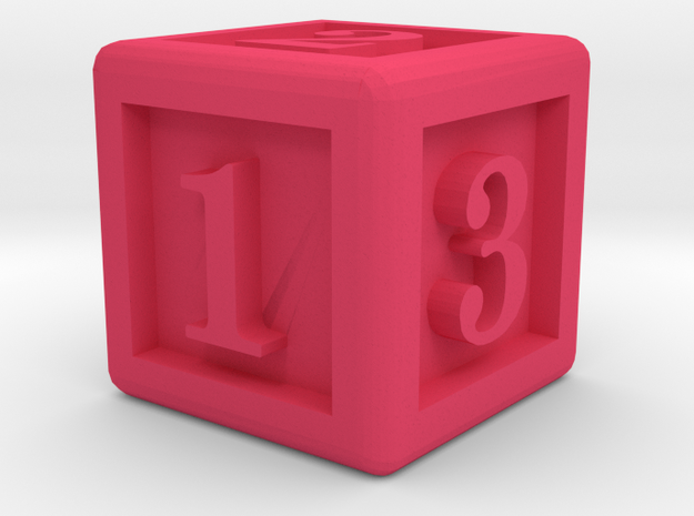 Six-Sided Dice in Pink Processed Versatile Plastic