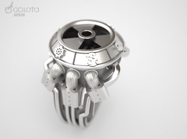 STALKER-Ring (Common God ring) in Polished Bronzed Silver Steel: 10 / 61.5