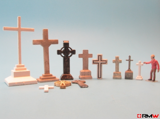 HO/1:87 Cemetery set 1 - crosses kit in White Strong & Flexible