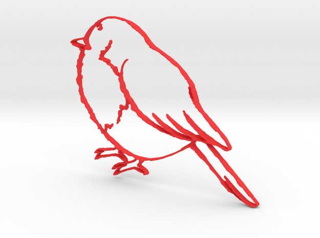 Bird keychain in Red Strong & Flexible Polished