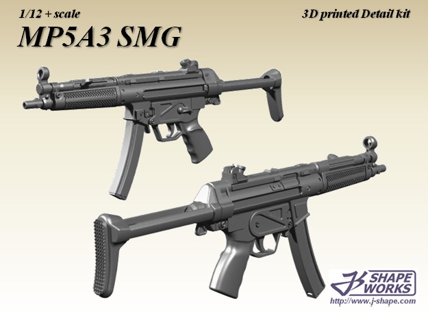 1/12 MP5A3 SMG in Frosted Extreme Detail