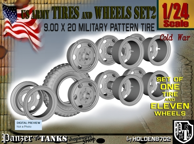 1-24 900x20 M35 Tire And Wheels Set2 in Smooth Fine Detail Plastic