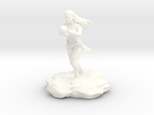 Wynnter, the Female Eladrin War Wizard with Orb in White Processed Versatile Plastic