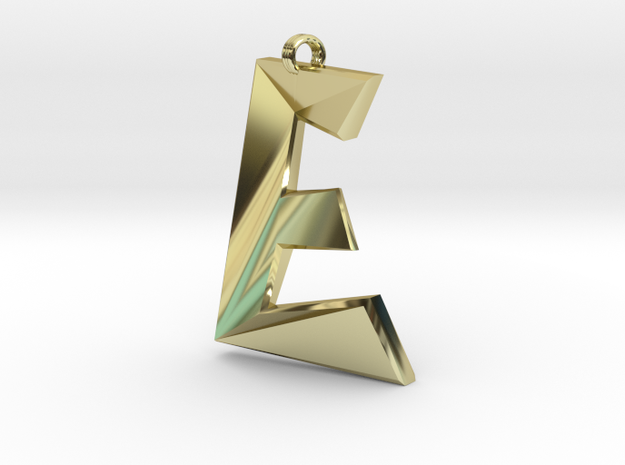 Distorted letter E in 18k Gold Plated Brass