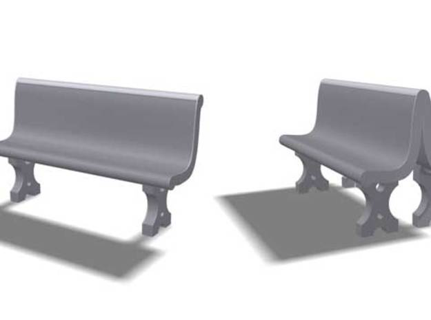 Cement Benches, HO Scale, 10 + 6 doubles in White Strong & Flexible