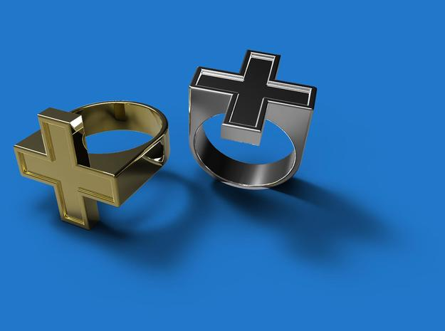 Plus Ring V2 in Polished Bronzed Silver Steel: 7.5 / 55.5