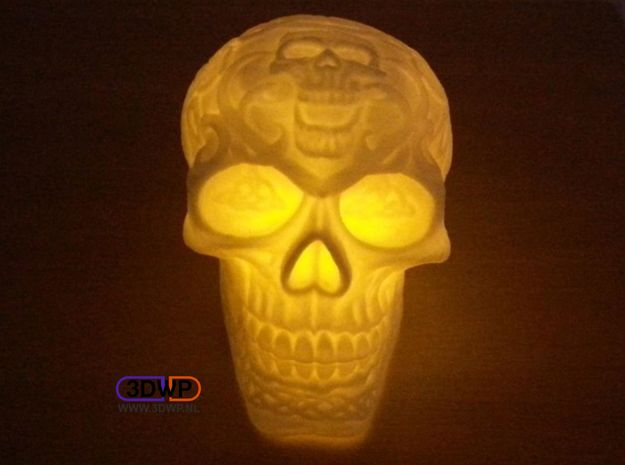 Celtic Skull (Hollow) in White Natural Versatile Plastic