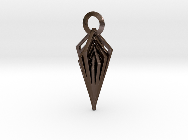 Diamond Pendant in Polished Bronze Steel