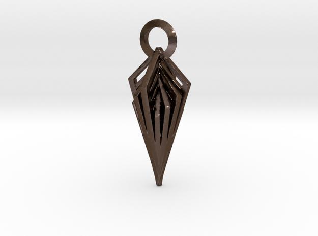 Diamond Pendant in Polished Bronze Steel