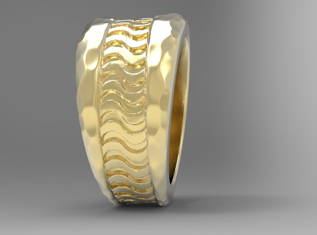 Wave Ring G in 18k Gold Plated Brass: 10 / 61.5