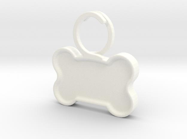 Quiet Dog Tag in White Processed Versatile Plastic