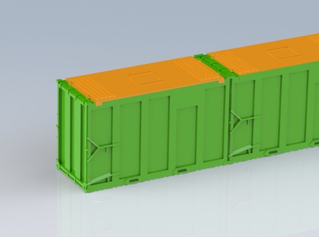 HO 1/87 MSW 4x Trash Containers for Atlas Flatcar 3d printed Colose up of one end of the CAD rendered model.