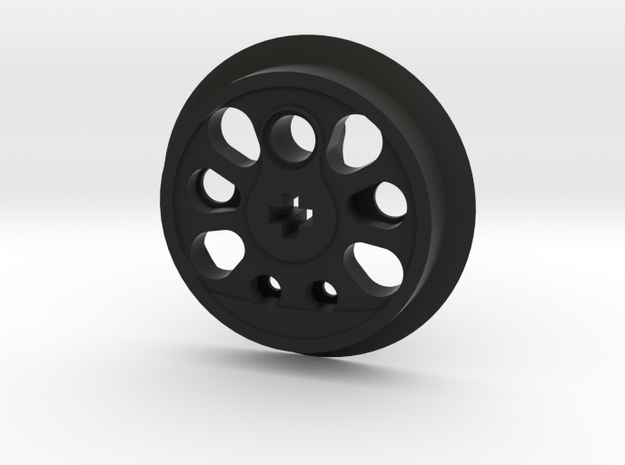 Large Boxpok Flanged Driver - No Traction Groove in Black Natural Versatile Plastic