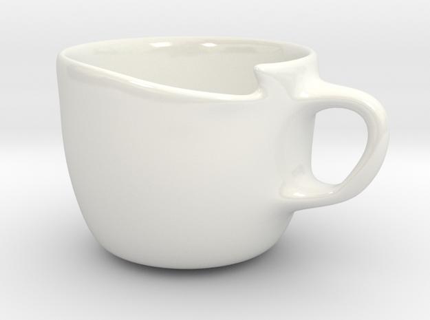 Spoon holder cup left-handed in Gloss White Porcelain
