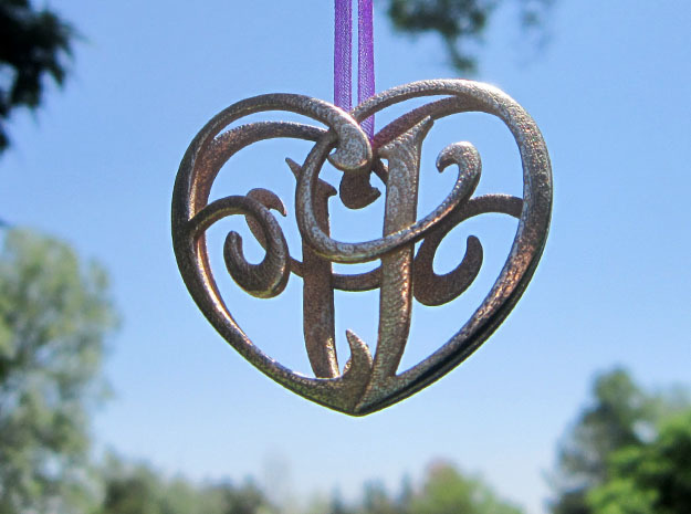 Scripted Initials 3d Heart - 4cm in Polished Bronzed Silver Steel