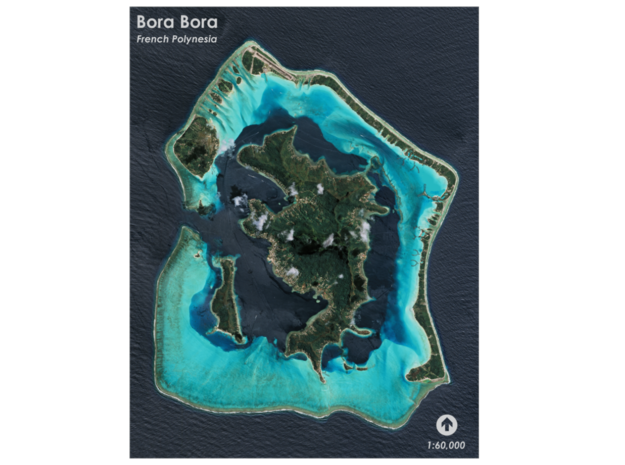 Bora Bora Map, French Polynesia in Coated Full Color Sandstone