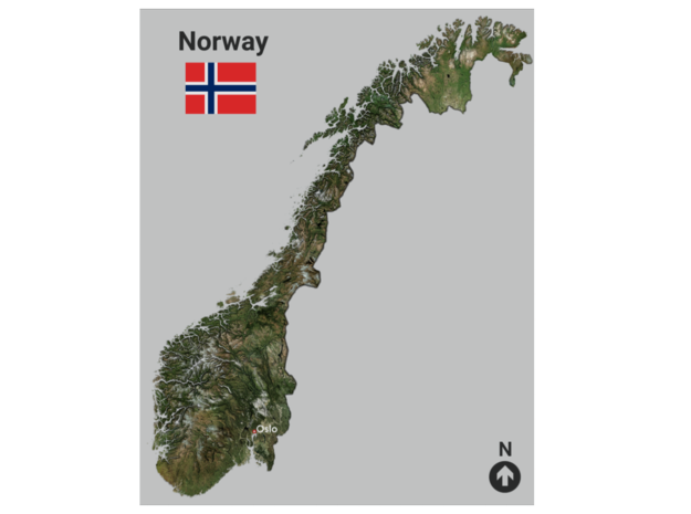 Norway Map in Coated Full Color Sandstone