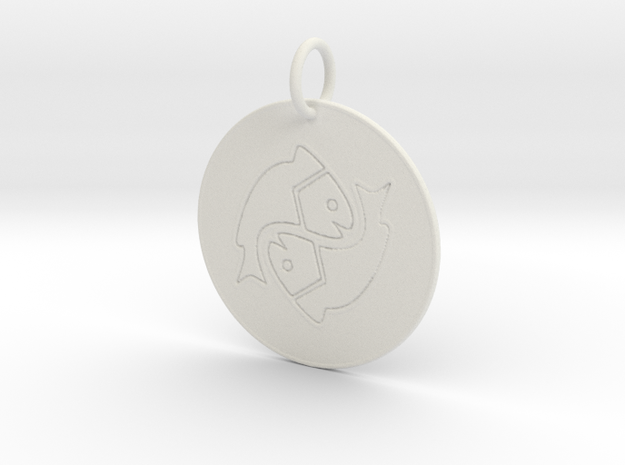 Pisces Keychain in White Natural Versatile Plastic