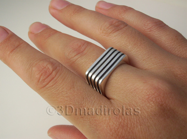 Square Lines Ring  in Polished Silver