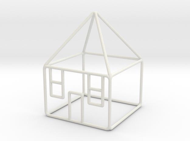 House 3 scale 1-200 10x10x14m in White Strong & Flexible: 1:200