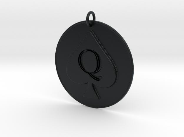 Queen of Spades Pendant in Black Hi-Def Acrylate