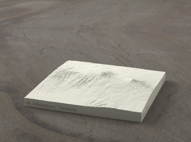 4''/10cm Mt. Kilimanjaro, Tanzania, Sandstone 3d printed Radiance rendering of model, viewed from the south.
