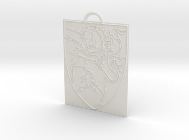Unicorn Keychain in White Natural Versatile Plastic