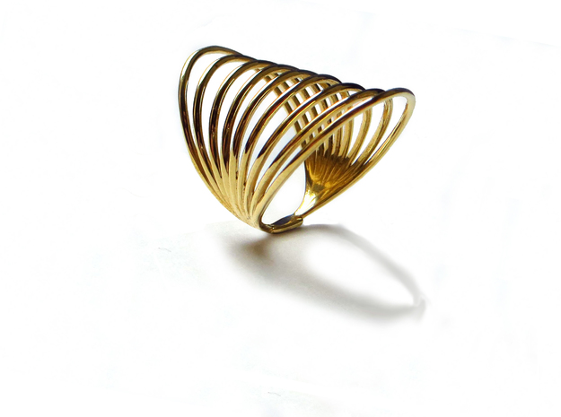 MAGNETIC FIELD RING Size 7 in Polished Brass
