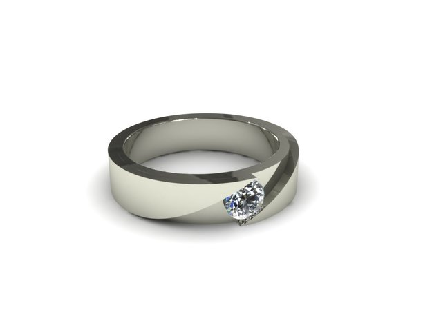 Cut Engagement Ring 3d printed