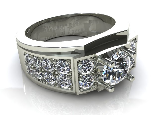Man Wedding Ring R2 in Frosted Ultra Detail
