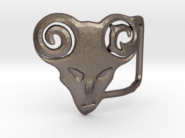 Belt Buckle in Polished Bronzed Silver Steel