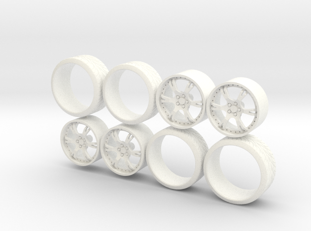 Set Wheels Sporz² + Tire 1-18 in White Strong & Flexible Polished